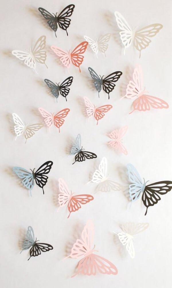 farfalle di carta per decorare le pareti