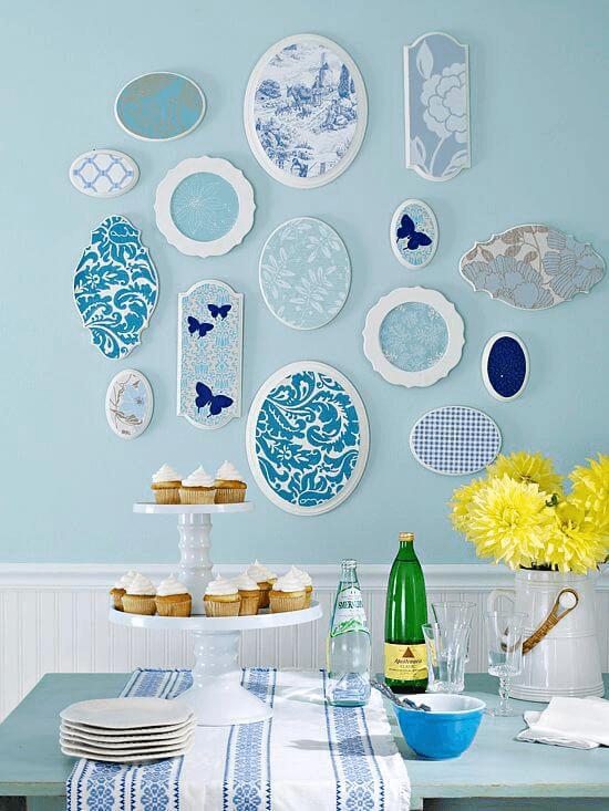 decorare piatti e creare quadri con carta da parati