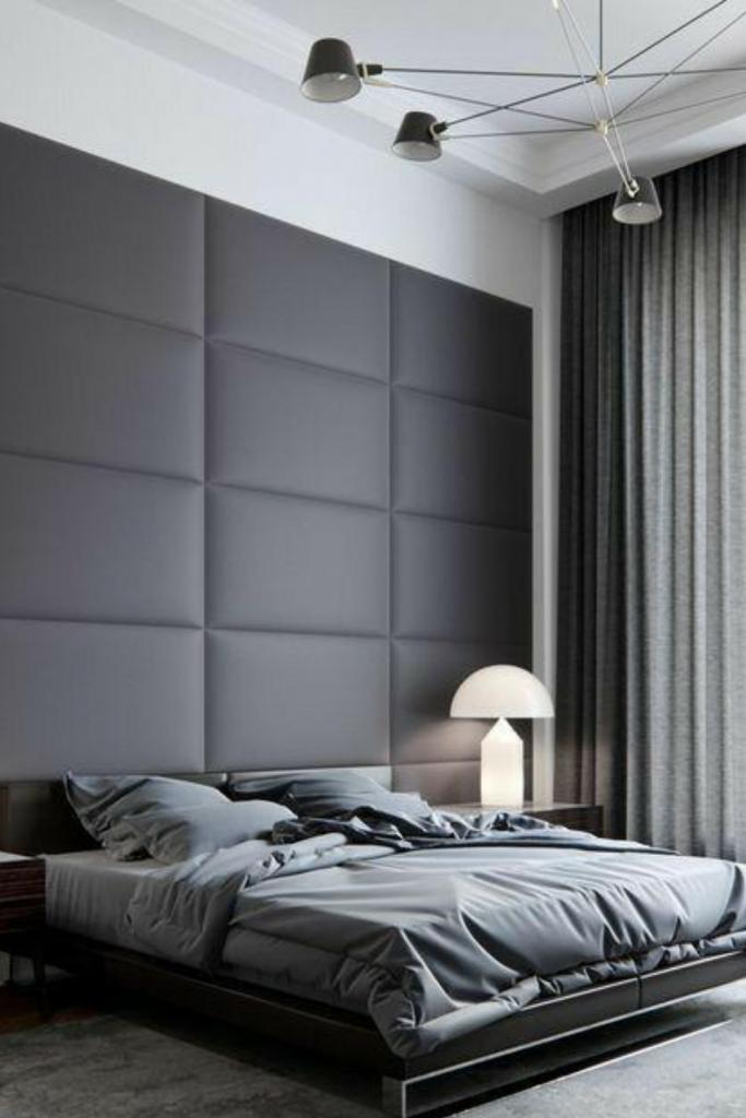 pannelli imbottiti parete dietro il letto